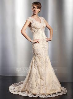 Trumpet/Mermaid V-neck Court Train Satin Tulle Wedding Dress With Lace Beading (002014773) - JJsHouse