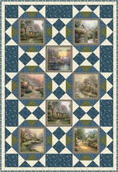 "FREE pattern now available! ""Foxglove Cottage"" designed by Benartex. Uses the Inspirations For Living collection by Thomas Kinkade and the Stone Cottage 2 collection by Benartex. Big Block Quilts, Quilt Block Patterns, Quilt Blocks, Quilting Projects, Quilting Designs, Sewing Projects, Wildlife Quilts, Fabric Panel Quilts, Quilt Border"