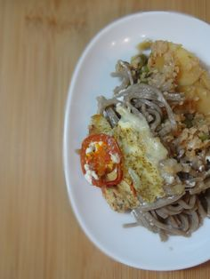 Soy and apple soba noodles