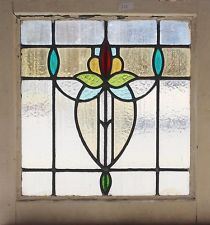 Antique Stained Glass Window Fancy Art Nouveau Eight Color Tulip Love the turquoise ovals.