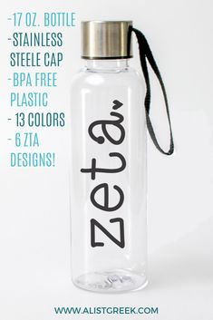 Design your water bottle to your style with a choice of 6 Zeta Tau Alpha designs and 13 stylish color options from www.alistgreek.com! #sororitylife #greekletters #sororitywaterbottle #waterbottle #sororitygift #gifts #biglittle #initiation #graduation #accessory #custom #biddaygifts #zetataualpha #zeta #zta