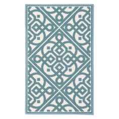 Waverly by Nourison Fancy Free And Easy Lace It Up Kitchen Mat Teal - Durable Indoor Door Mats, Indoor Doors, Teal Area Rug, Kitchen Mat, Area Rug Sizes, Accent Rugs, Large Rugs, Home Remodeling, Handmade Rugs