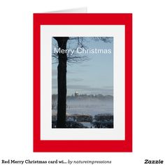 Red Merry Christmas card with winter landscape. #christmas #cards #shop #buy #xmas #holidays