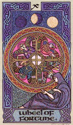 X. The Wheel of Fortune - Celtic Tarot by Courtney Davis & Helena Paterson