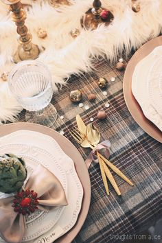 Thoughts from Alice: Creating Christmas Party: Rustic Christmas {Holiday Home Tour Part II} - Eclectic Table Setting