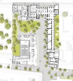 HPP Selected to Redesign Cologne's University of Music and Dance,Ground Floor. Image © HPP Architects Image 6 of 9 from gallery of HPP Selected to Redesign Cologne's University of Music and Dance. Photograph by HPP Architects University Architecture, Education Architecture, Urban Architecture, Architecture Student, School Floor Plan, School Plan, Centro Musical, Urban Design Plan, Music School