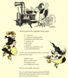 """We even made the pancakes! The recipe for the famous """"Bewitching Blueberry Pancakes"""" from """"Old Black Witch"""" by Wende and Harry Devlin Retro Recipes, Old Recipes, Vintage Recipes, Cooking Recipes, Jelly Recipes, Family Recipes, Holiday Recipes, Disney Inspired Food, Disney Food"""