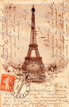 "Altered vintage postcard:""As tu recu la carte!?"" Have you received the postcard!? Writer sent this Eiffel Tower card to friend Louise in Belgium in 1902."