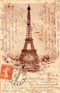 EIFFEL Tower French Script Antique 1902 PARIS