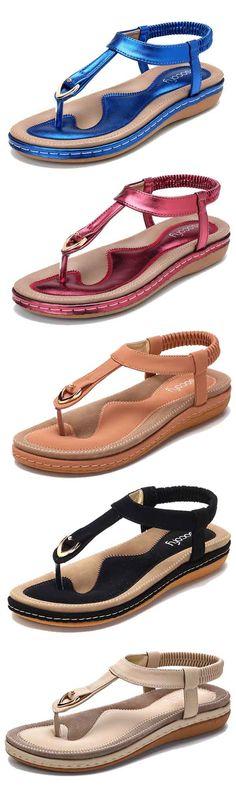 d09f7b687ac SOCOFY Comfortable Shoes Elastic Clip Toe Flat Beach Sandals US Size 5-13# sandal