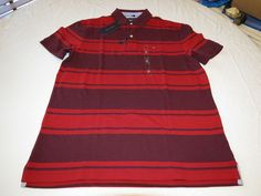 Mens Tommy Hilfiger Polo shirt Striped 7880966 Zingandel 620 L Classic Fit NWT #TommyHilfiger #polo