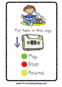 I made these reference cards for my kiddos to use during listening center (walkmen). I place a yellow smiley face on the correct side of the cassette and the kids follow the picture to insert the tape correctly.