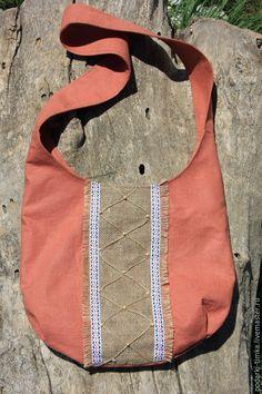 Купить Льняная этносумка со вставкой - коралловый, орнамент, сумка ручной работы, сумка женская