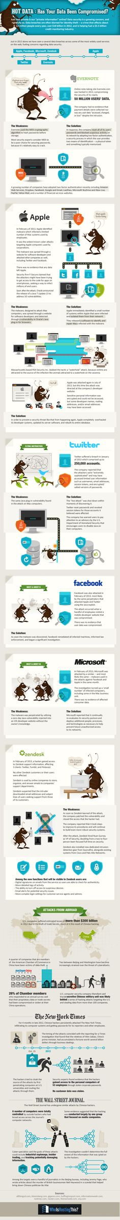 Apple, Facebook, Zendesk, Twitter - Was Your Data Compromised In 2013? #Infographic