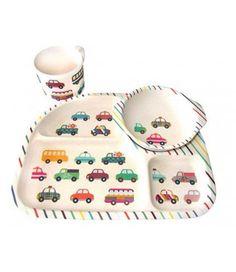 BimBamBoo 3tlg. Bambus Kinder-Geschirr Transport Auto Tasse Teller   - 2-flowerpower
