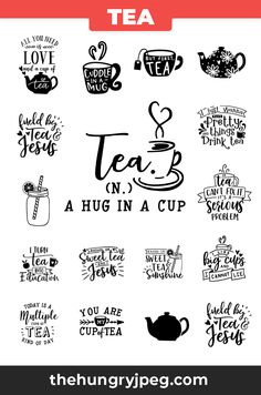 tea lovers svg bundle - this listing contains 16 design. Tea Quotes, Coffee Quotes, Tea Time Quotes, Cricut Svg Files Free, Tea And Books, Circuit Projects, My Coffee, Cricut Design, Bujo