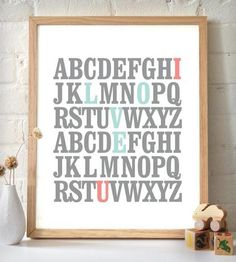 "ABC ""I Love U"" Art Print - Grey & Coral 