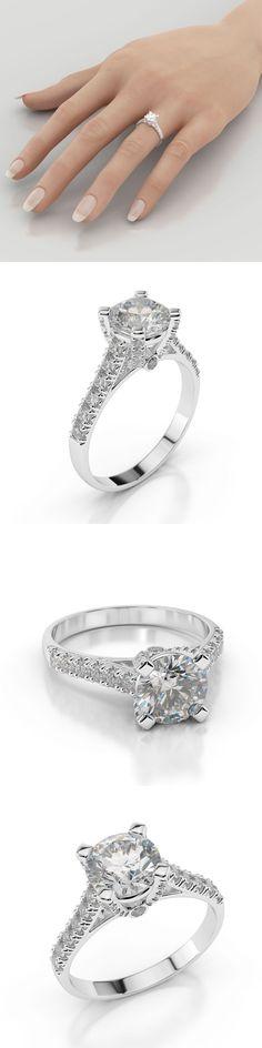 Wedding rings: 1 Carat D Vs2 Enhanced Diamond Engagement Ring Round Cut 14K White Gold -> BUY IT NOW ONLY: $681.72 on eBay!