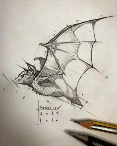 Pencil Art Drawings, Art Drawings Sketches, Tattoo Drawings, Sketch Drawing, Bat Sketch, Crazy Drawings, Pencil Sketching, Animal Sketches, Animal Drawings