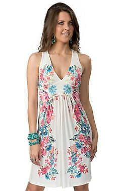 R. Rouge Womens White with Mirror Floral Print Lace Racer Back Sleeveless Dress