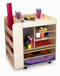 Share Art Supplies Among Classes! The rolling art cart is an affordable and convenient way to store and transport a vast array of art supplies. Art Supplies Storage, Art Storage, Craft Storage Cart, Mobile Storage, Kids Storage, Storage Bins, Preschool Furniture, Art Cart, Large Shelves