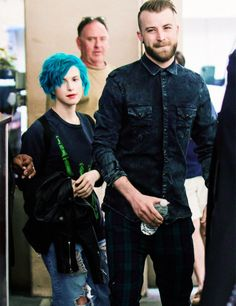 Singer-songwriter Hayley Williams and bassist Jeremy Davis of rock band Paramore are seen leaving their hotel on June 27, 2014 in Philadelphia, Pennsylvania.
