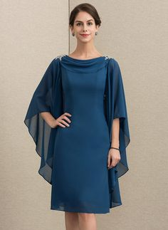 JJsHouse Sheath/Column Cowl Neck Knee-Length Beading Zipper Up Sleeves Sleeves No Ink Blue General Plus Chiffon Mother of the Bride Dress. Chifon Dress, Lace Dress, Mother Of Groom Dresses, Mother Of The Bride, Bride Dresses, Stylish Dress Designs, Stylish Dresses, Kurta Designs, Vestidos Fashion