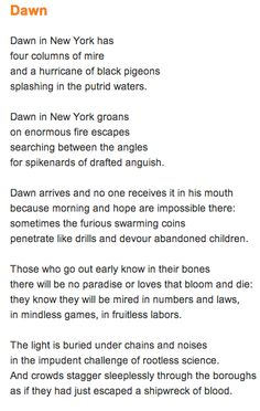 """One of Lorca's most well known poems """"Dawn""""."""