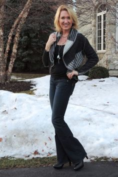 #CAbi - Renita, a self-described fashion lover, addicted shopper, fitness fanatic, anti-aging crazed 40 something carpooling mother of three with a self-described neglected husband, is rocking our Patchwork Sweater (fall 2013 collection).
