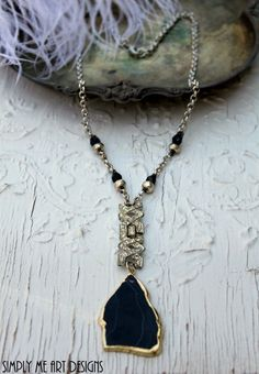 Vintage Art Deco Rhinestone Onyx Pyrite and Agate by simplymeart