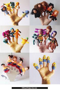 Finger Puppet / toddler travel toy / waldorf sensory toys / Custom Made Finger Puppets/Choose any five styles /focus toy / kids sensory toys Travel Toys For Toddlers, Toddler Travel, Finger Puppet Patterns, Finger Puppets, Handmade Shop, Etsy Handmade, Harry Potter Toys, Dog Belt, Tricot