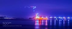 Night view of the sea factory by masastyle