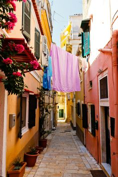 Narrow streets of Corfu, Greece.
