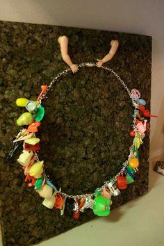 Vintage Cracker Jack Gumball Charm Necklace Plastic by stellaranae, $125.00