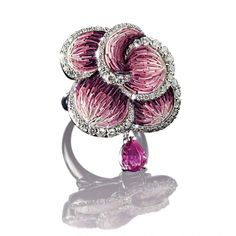 Ring in White Gold 18 ct, Diamonds, Pink Sapphires and micromosaic by SICIS