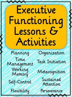 Executive functioning lessons and activities. Help middle school kids learn critical skills: planning organization time management self-control metacognition and more. Middle School Counseling, School Social Work, School Counselor, Social Emotional Learning, Social Skills, Study Skills, Life Skills, Teaching Posters, Teaching Tools