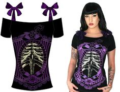 NEW - Annabel Bow Girls Top by Too Fast Clothing- Purple Lace Ribcage