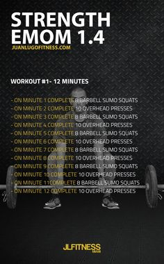 12 Minute Strength EMOM 1.4- 8 barbell squats and 10 ovehead presses. #emom