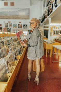 Styling a fun and easy outfit that's perfect for the office - a plaid blazer and skirt set, shot in my favorite vintage record store in Dallas. Cd Store, Vinyl Store, Vintage Photography, Photography Poses, Fashion Photography, Girl Senior Pictures, Senior Pics, Music Photo, Plaid Blazer
