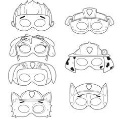 This listing is for (7) printable black and white mask JPG files that are in a zip! All masks are ready to be printed, cut, and colored in!