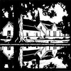 """""""Stille Waters"""" linocut by Pierneef Linocut Prints, Art Prints, Linoprint, South African Artists, Wood Engraving, Tampons, Woodblock Print, White Art, Art Sketchbook"""