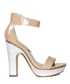 Neutral patent olivia \\ silver block heel \\ SHOE SEPARATES