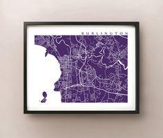 Burlington, Vermont Map Art Poster by CartoCreative on Etsy #Burlington #vermont #map