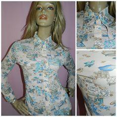 Vintage 1960s 1970s Cream/blue Kitsch ORIENTAL BIRD Novelty Print Mod shirt blouse 12 M Nylon Dagger collar 60s 70s by HoneychildLoves on Etsy