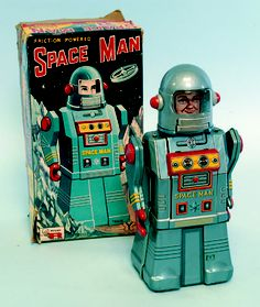 Space Man Tin Toy | Vintage and Retro Space Age Raygun, Rocket and Robot Toys | Sugary.Sweet | #SpaceAge #Toy #Robot #SciFi