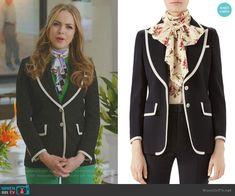 Fallon's black tipped blazer on Dynasty.  Outfit Details: https://wornontv.net/99233/ #Dynasty