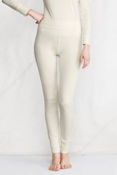 Women's Thermaskin™ Heat Pants from Lands' End Size S, Ivory or Iced Mocha