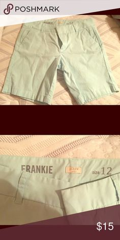 J Crew Mint Frankie 12 Bermuda Shorts Just purchased on posh, but they are too big. They are in perfect condition, pretty mint color. J. Crew Shorts Bermudas