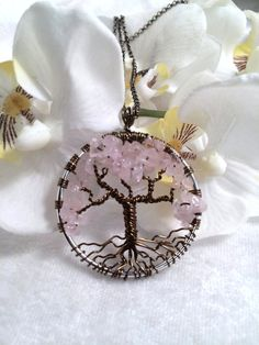 Tree Of Life Necklace Rose Quartz Pendant Silver by Just4FunDesign, $30.00
