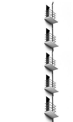 Minimalist photography in black & white of balconies | Architecture. Architektur | Photo: ivo mathieu gaston |